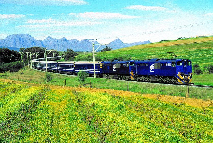 Train bleu en Afrique du Sud