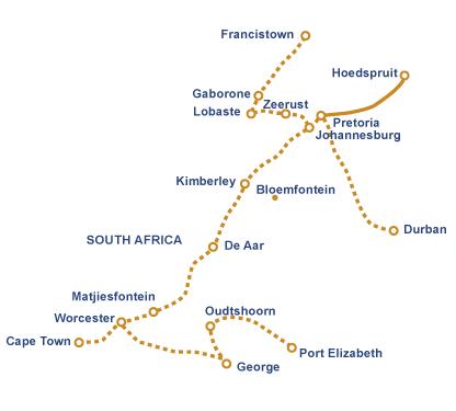 Circuit itinéraire Train Bleu Hoedspruit Pretoria